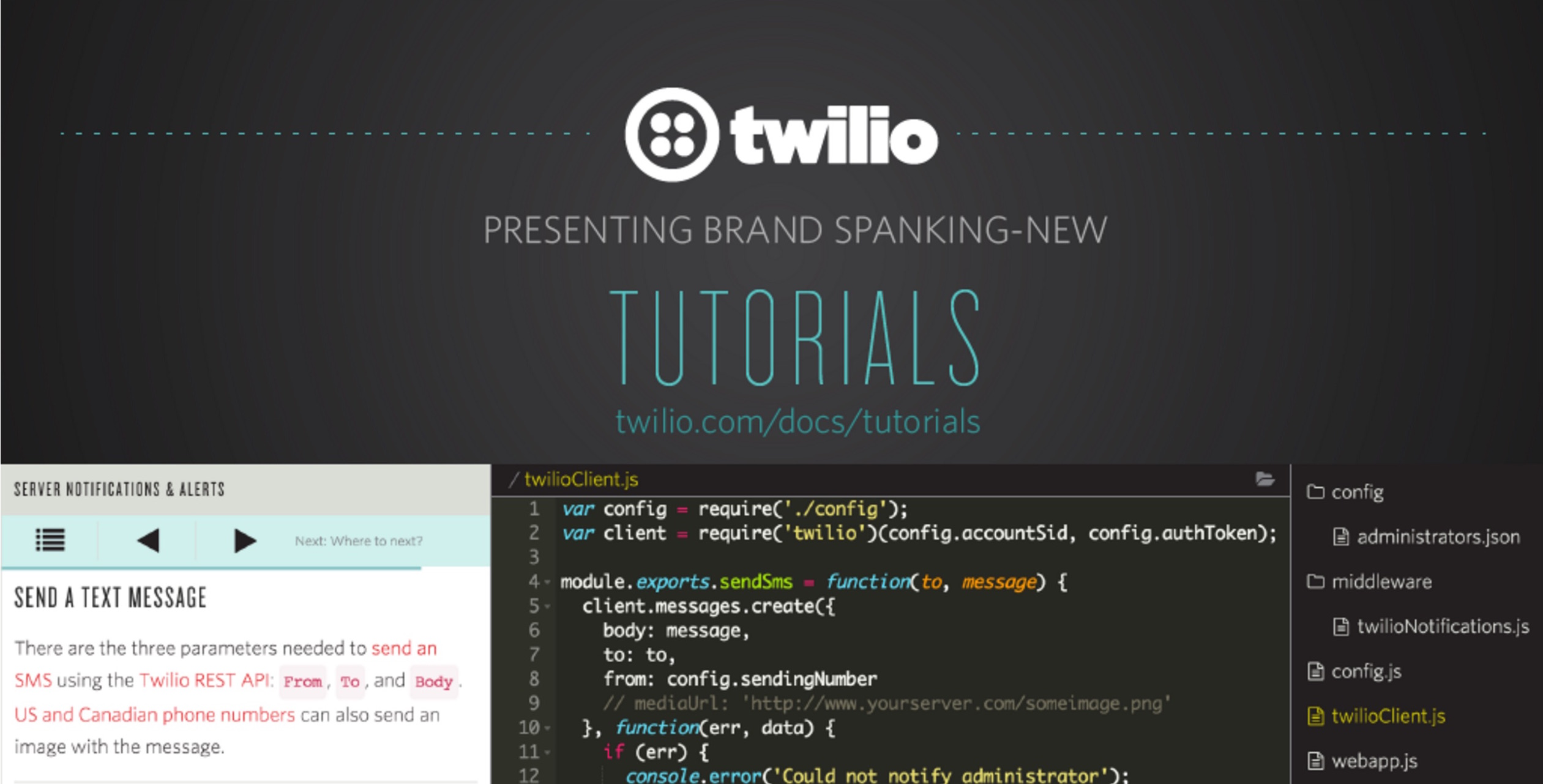 Tutorials by Twilio launch blog post slide